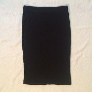 Black Stretch Midi Bodycon Skirt
